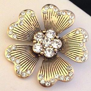Designer Pin Antique Gold Tone Crystal 2G